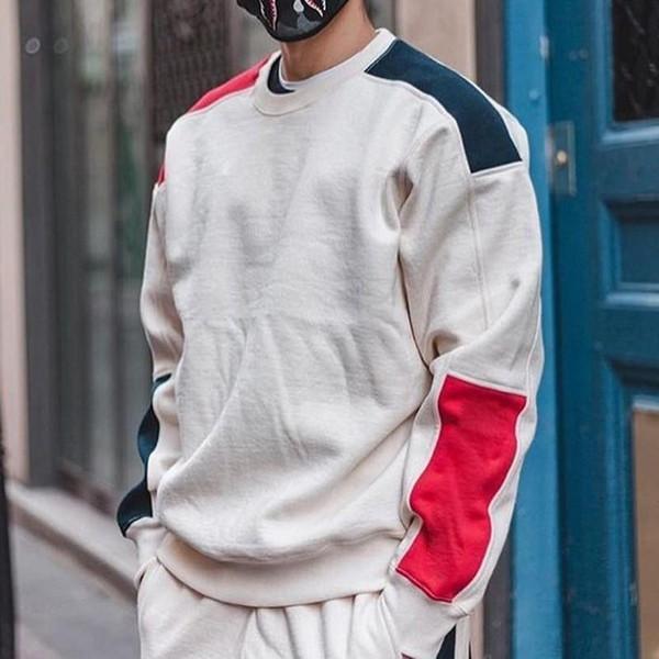 19SS KUTUSU LOGOSU Formülü Crewneck Moda Kazak Rahat Erkek Kadın Renk Eşleştirme Kazak ceket Sokak Hip Hop Kazak HFYMWY237