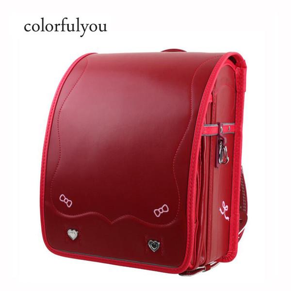 Colorfulyou donne zaino 2019 nuovi sacchetti di scuola giapponese rosso arco ricamato per ragazze Randoseru scuola per bambini zaino gradi 1-3