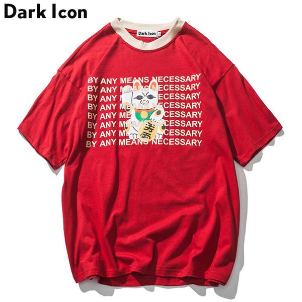Dark Icon Novelty Printing Oversize T-shirt Men 2018 Summer High Street Loose Style Hip Hop Tshirt Streetwear Clothing Blue Red C19040302