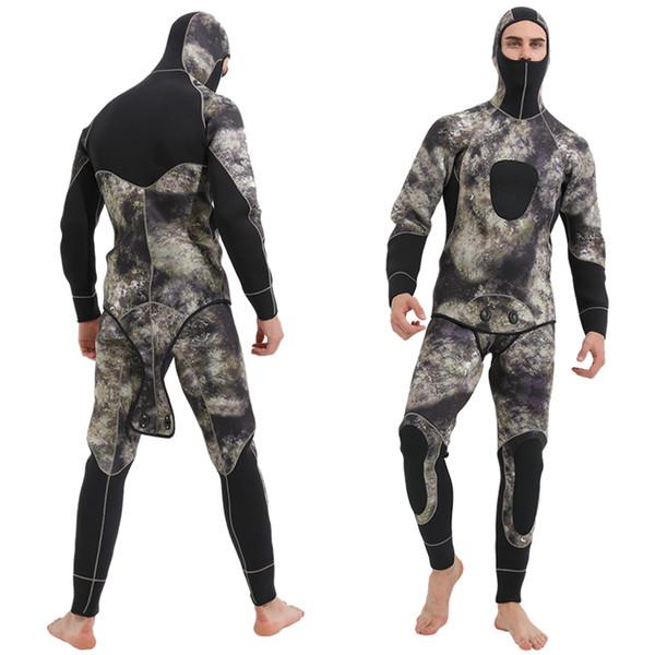 Sbart 2019 5mm Hommes Camouflage Néoprène Combinaison avec Capuche Complet du corps Deux pièces Chasse Sous-Marine Costume De Plongée Chasse Sous-Marine