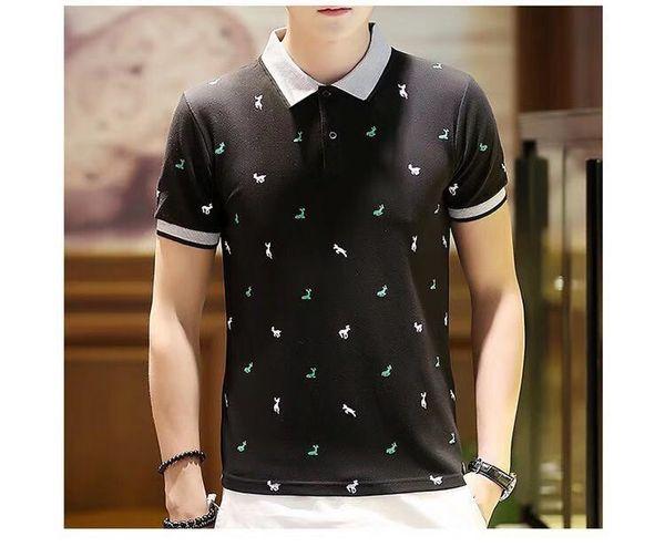 2019 Поло мужские печатные рубашки поло хлопок с коротким рукавом Camisas Поло повседневная стенд воротник мужской рубашки поло 3XL EDA234