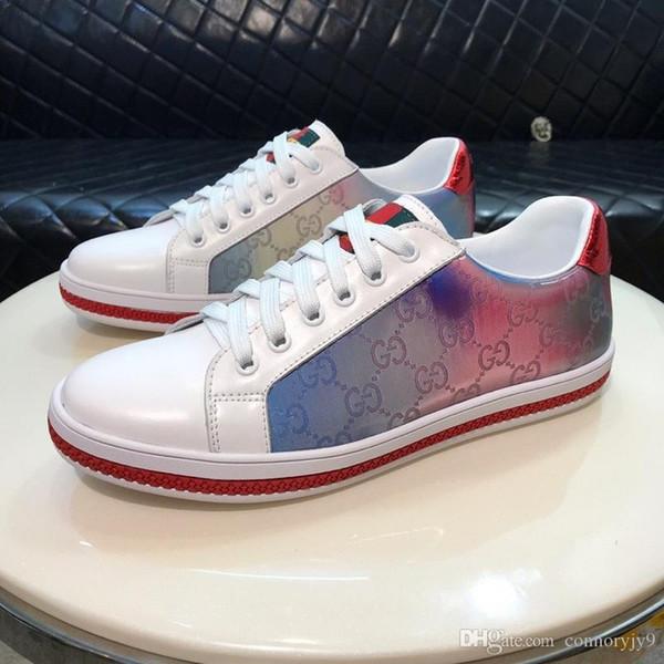 Lüks Tasarımcı Erkek Kadın Sneaker Rahat Ayakkabılar Düşük Üst İtalya marka Ace Arı Çizgili Ayakkabı Yürüyüş Spor Eğitmenler Chaussures Hommes Dökün