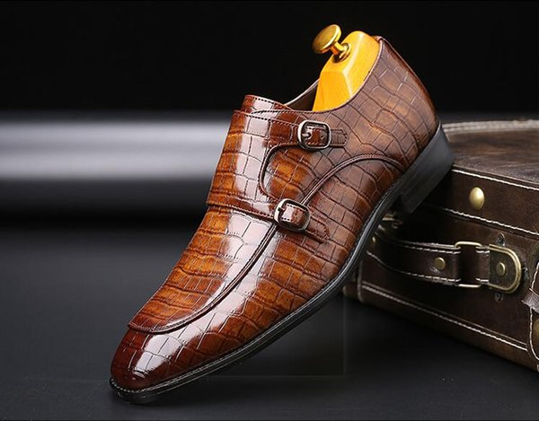 Neuer Stil Schnalle Bügel-Mann-Oxford-Kleid-Schuhe PU-Leder Prägung Schlangen-Haut-britische Männer-Partei-Hochzeit Wohnungen Größe 38 ~ 48 da036