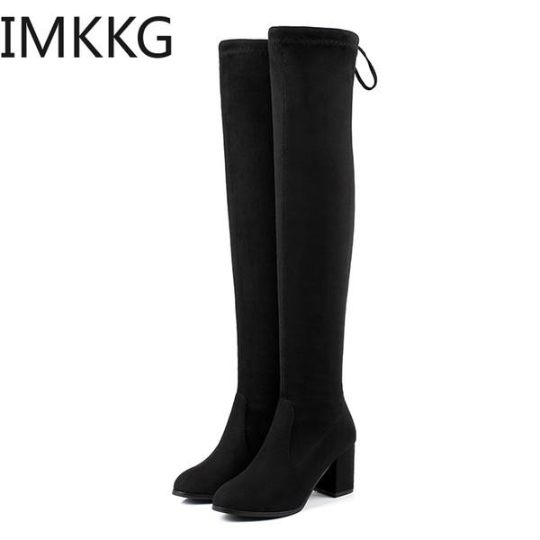 Sexy Slim Fit Упругие Flock над коленом Boots ботинки женщин 2019 осень зима ботинки высокой пятки Длинные бедренной кости высокие Botas