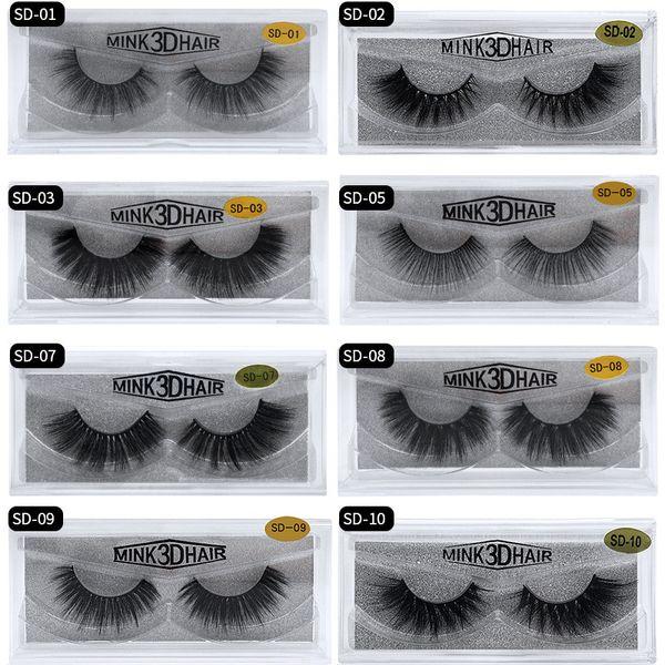 top popular 20 style 3d Mink Hair Fake Eyelash 100% Thick real mink HAIR false eyelashes natural Extension fake Eyelashes DHL free shipping 2020