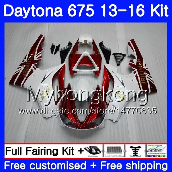 Body For Triumph Daytona-675 Daytona 675 13 14 15 16 Bodywork 328HM.18 Daytona675 stock Dark red Daytona 675 2013 2014 20 15 2016 Fairings
