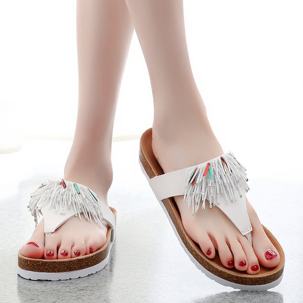 Low Outside Cork Sandals Slippers Thongs Flat Male Beach Female Summer Ladies Flip Flops Heel Leather Leisure Bow Knot New 2019