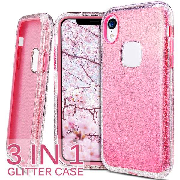 Hybird 3in1 limpar brilhante brilho phone case pc silicone cobertura completa para iphone 6 s 7 8 mais x xr xs casos de celular bling max