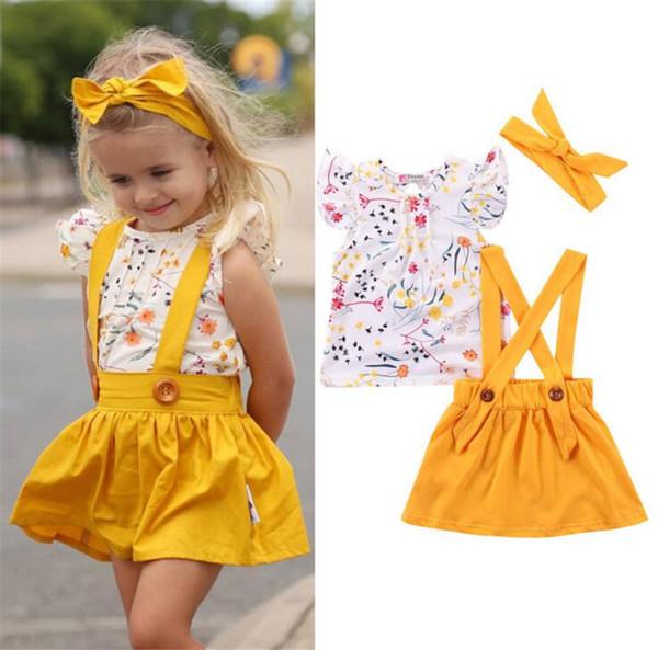 3pcs Infant Baby Girls manga corta camiseta + vestido de la correa + diadema Estampado floral trajes de verano Set B11