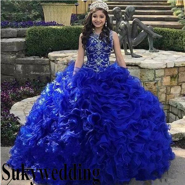 Compre Royal Blue Vestidos De Quinceañera Con Volados En Cascada Falda De Volantes Cuello De La Joya De Cristal Organza Dulce 16 Vestido Del Desfile