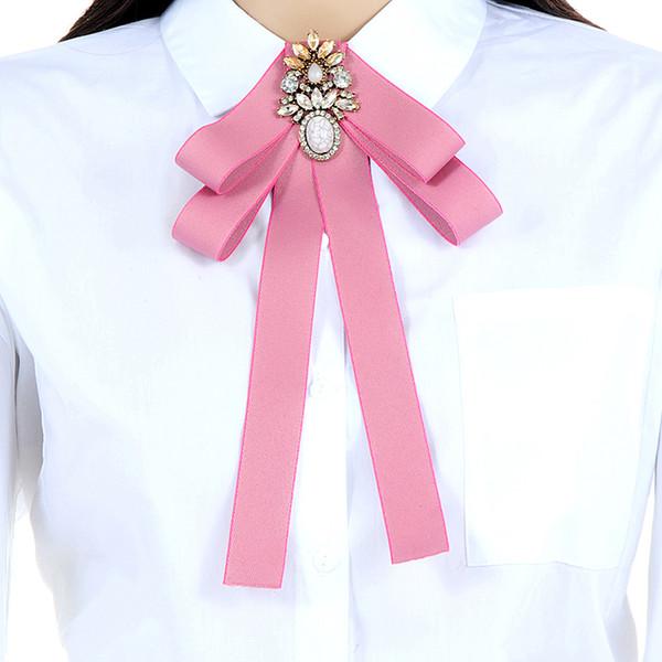 New Fashion Vintage Elegant Navy Oval Zircon Badge Dress Shirt Brooches Pin Bow Tie Dress Collar Women Jewelry Accessories