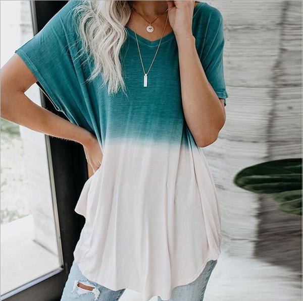 2019 европейская и американская мода новая футболка с короткими рукавами Gradient рыхлый случайный длинный участок v-образным вырезом женская футболка