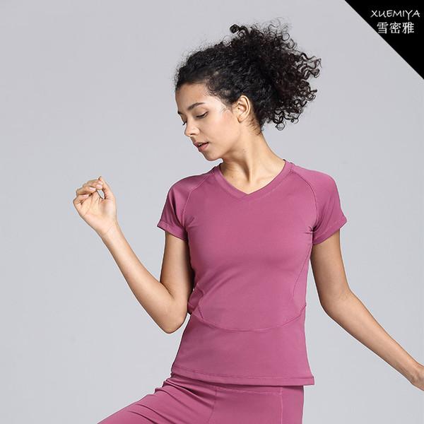 Gasa Movimiento de la articulación dividida Manga corta Ma'am V Líder Ejecutar Cerrar Yoga Bailar Servir la ropa correr top deportivo solo