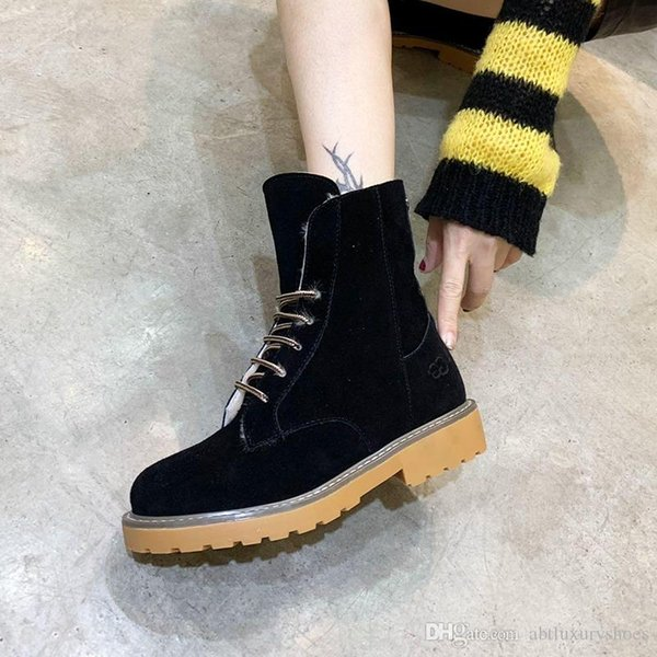 Snow Boots Warm Winter 2018 Fur Lace-Up Lady Shoes Zapatos de hombre Footwears Warm Ankle Platform VGG Round Toe Female Boots Luxury