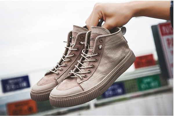 High quality men's high canvas shoes Pigskin breathable sports casual shoesMen's Wild Tide Shoes England Martin Boots
