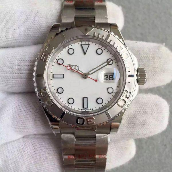 Hombres \'; reloj Yate de lujo del estilo de S 40mm Esfera Blanca Maestro reloj mecánico automático del zafiro de cristal Modelo clásico original plegable Buckl