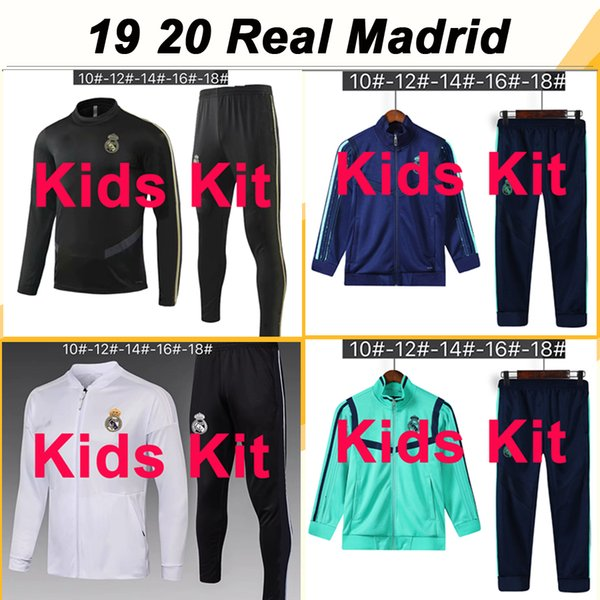 best selling 19 20 Real Madrid Jacket kids Kit Soccer Jerseys New HAZARD SERGIIO RAMOS BENZEMA Tracksuit Child Suit Training Wear Football Shirts Top