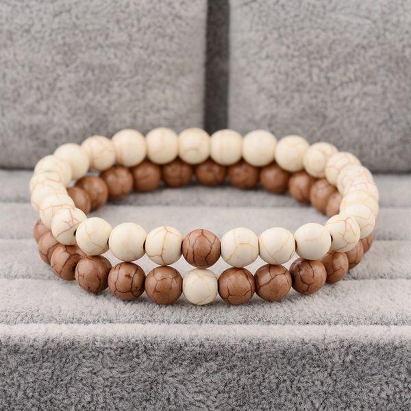 2 Unids / set Moda Pareja Distancia Pulsera Hombres Clásico Piedra Natural Yin Yang Pulseras de Cuentas Para Las Mujeres Mejor Amigo Pulseras