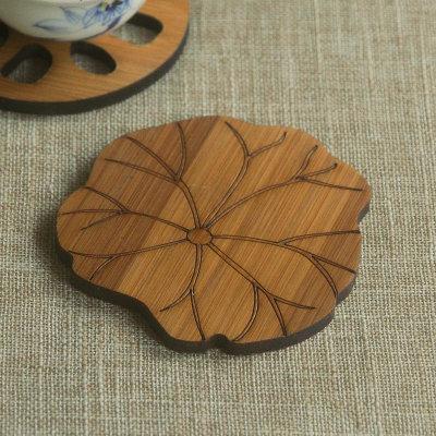 Bamboo Cup Coasters Creative Lotus Leaf Shape Heat Resistant Wood Pad 3pcs/Lot Bowl Mat Pot Holder Kong Fu Tea Accessories ZJ0508