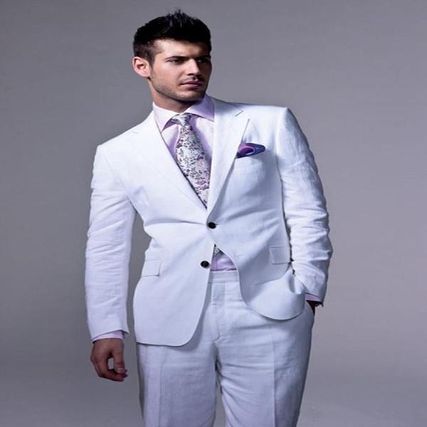 New White Linen Wedding Men Suits Groom Wear Slim Fit Tuxedos 2 Pieces (Jacket+Pants) Bridegroom Suits Best Man Blazer 82