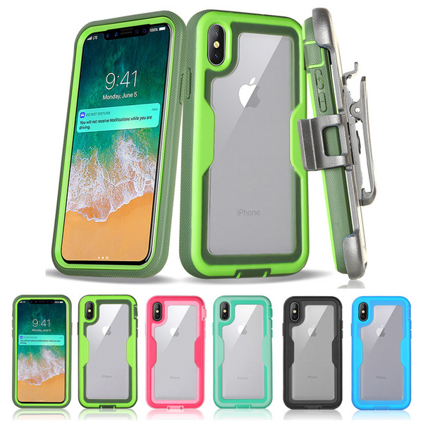 Hybrid Rugged Clear Case With Belt Clip Robot For iPhone X XR XS Max 8 7 6 Samsung S8 S9 S10 Plus S10E Note 9 J3 J7 2018 J3 Prime J2 Core