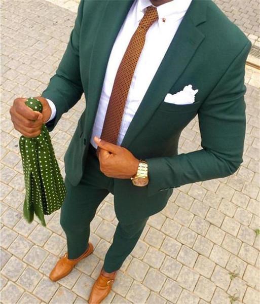 (Veste + Pantalon) Green Wedding Men Suits 2019 Deux pièces Morceaux Smokings Décolletés Revers Fit Fit Party Costume Custom Made Groomsmen Suits