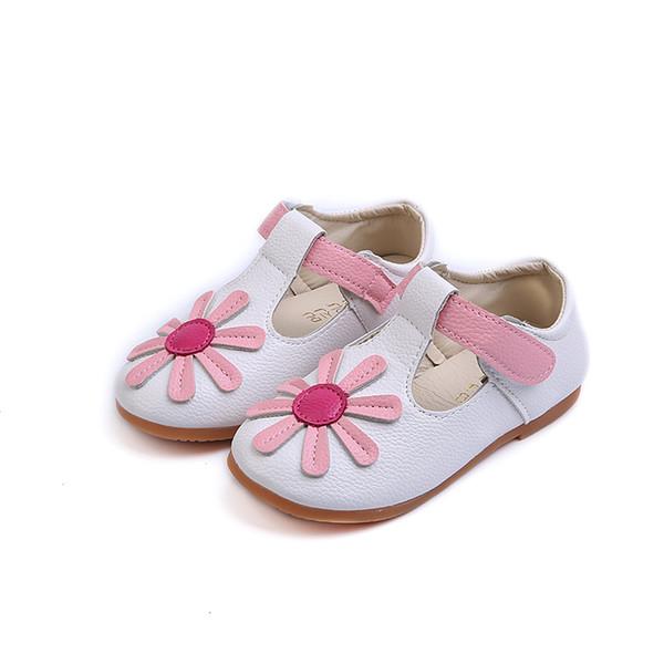 Amarelo Branco Crianças Flor Crianças Da Criança Do Bebê Pequenas Meninas Sapatos De Couro Liso Para Meninas Escola Princes Sapatos