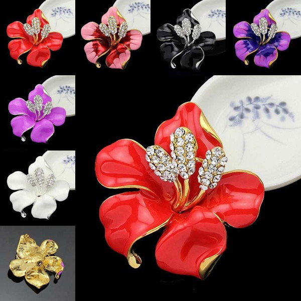 Gold Crystal Flower Brooches Pins Corsage Enamel Diamond Boutonniere Stick Corsage Wedding Brooch for Women Men Fashion Jewelry