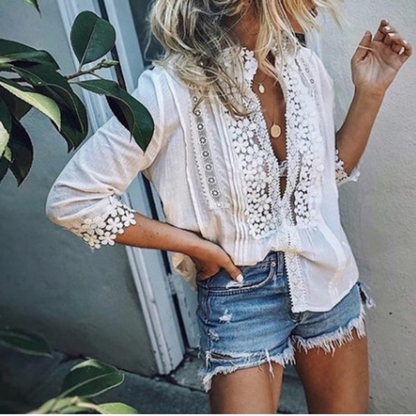 top popular Womens Lace Tops And Blouses Elegant Ladies Hollow Out Half Sleeve V Neck Shirt Summer Boho Beach Blouse Blusa Feminina SJ1913V 2021
