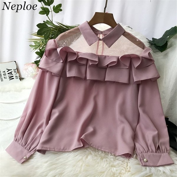 Neploe Mesh See-through Patchwork Shirts Turn-down Collar Solid Ruffles Blusas Long Sleeve Autumn Chiffon Women Blouse 68526 T5190606