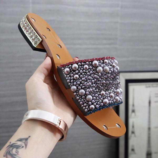3A 2019 Newest Women Rhinestone low-heel slippers Pearl Designer work summer women sandals dress shoes classic trend fashion BIG Size 43/12