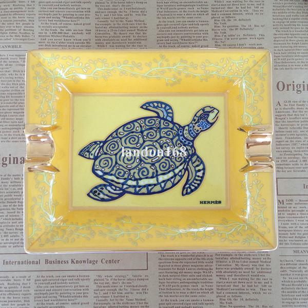 Seramik Küllük 2 Tutucu sarı Puro Küllük kaplumbağa deseni Küllük Salon Ev dekorasyon Yaratıcı hediye