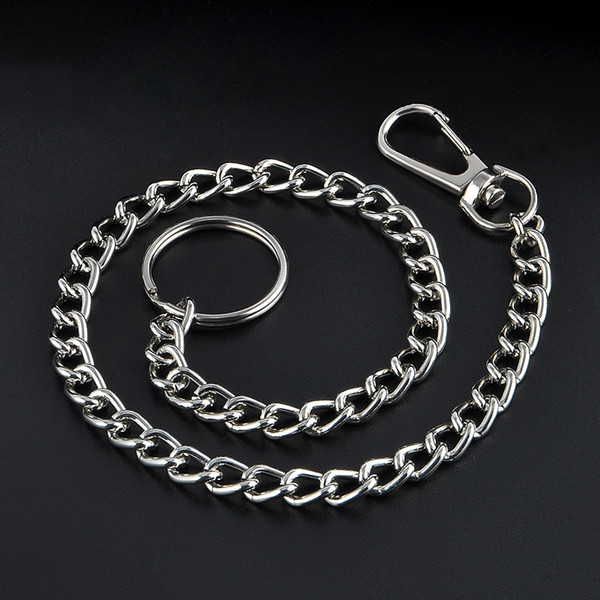 38cm Long Metal Keyring Keychain Silver Chain Hipster Pant Jean Key Wallet Belt Ring Clip Men's HipHop Jewelry Free shipping C19011001