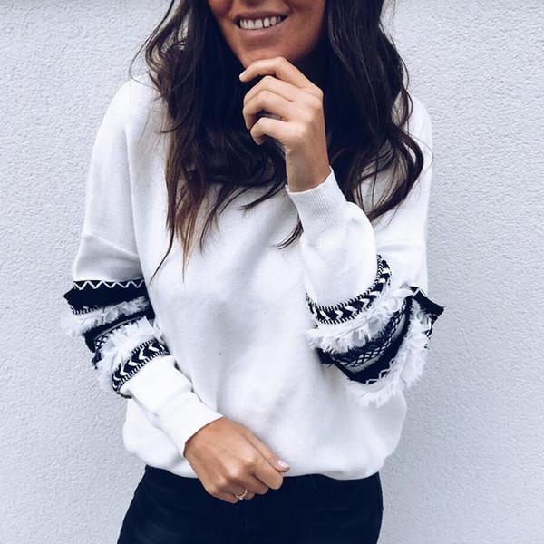 Moda-Rosa Cinza Branco Mulheres Mangas Compridas Hoodies Moletons Para As Mulheres Outono Inverno Tops Moda O Pescoço FS5165