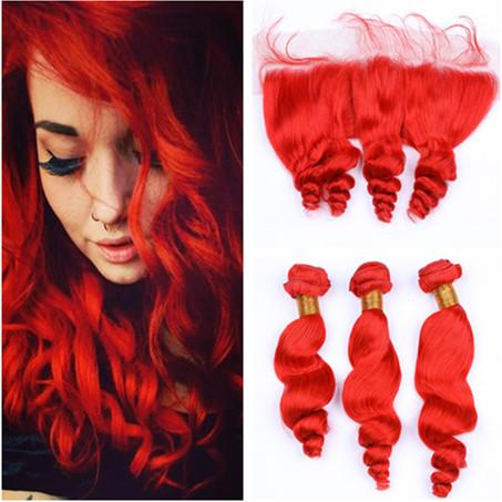 Bright Red Loose Wave Brazilian Hair 3Pcs Bundles with Frontal Pure Red Wavy Human Hair 13x4 Lace Frontal Closure with Weaves 4Pcs Lot