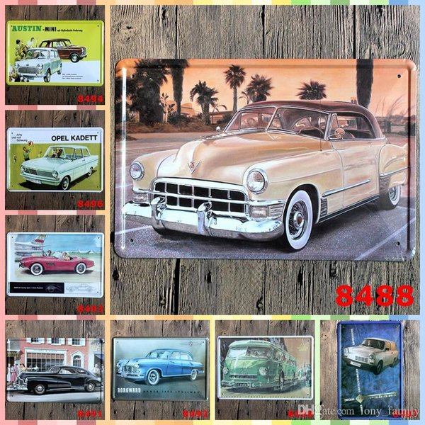 Vintage Decor 8 Styles Retro Car 20*30cm Metal Art Iron Wall Paint Posters Home Decor Tin Signs Graphic Tablet Decoration Crafts