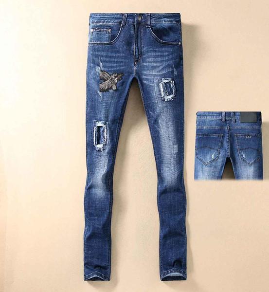 Famoso marchio GAS di alta qualità 1: 1 nuovi jeans da uomo foro ricamo hip hop jeans da uomo moda pantaloni da uomo di lusso di alta qualità