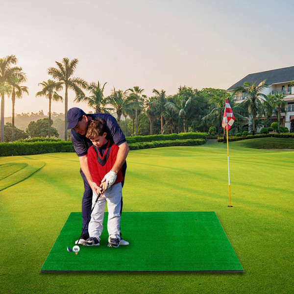 Golf Double Hole Strike Pad 5ft 3ft Green Golf Percussion Pad Indoor Outdoor Hitting Mat Training Aids Practice US stock