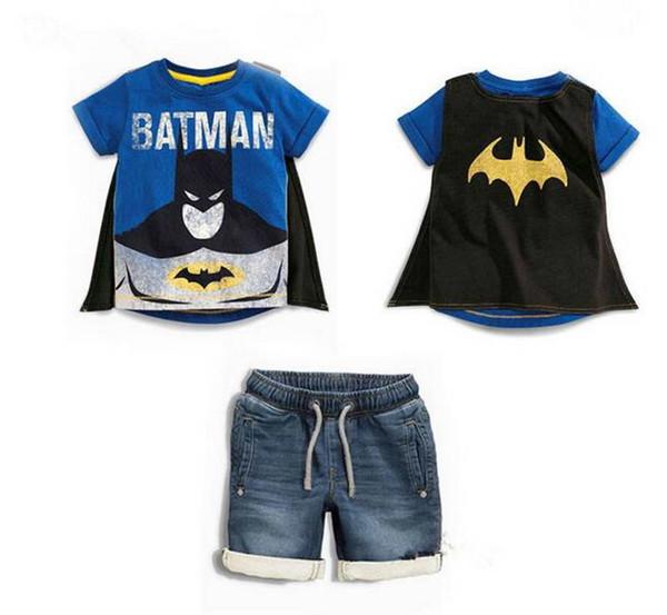 baby boy designer clothes Kids sets 100%Cotton summer boy's set Letter Print Superman T shirt with cloak + denim short kids clothing sets