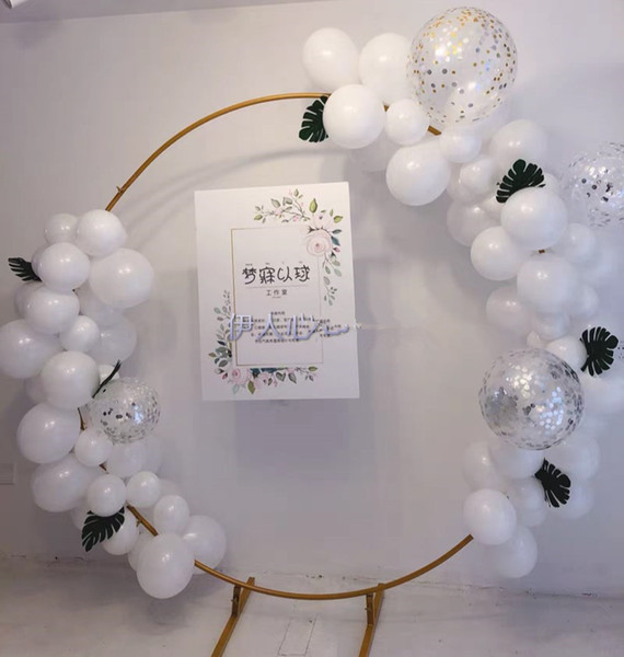 5 Sizes Party Wedding Props Decor Wrought Iron Ring Arch Backdrop Round Arch Lawn Silk Artificial Flower Row Stand Wall Shelf