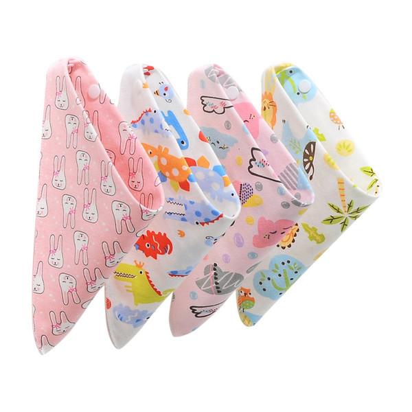 Детские нагрудники хлопок Кормление Фартук Triangle Cute Baby Слюнявчики Девочки Мальчики мультфильм кормления шарф нагрудник воротник Bib Burp ткань