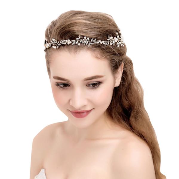 antique gold handmade ribbon rhinestone crystal pearls floral bridal wedding tiara headband headpiece hair accessories