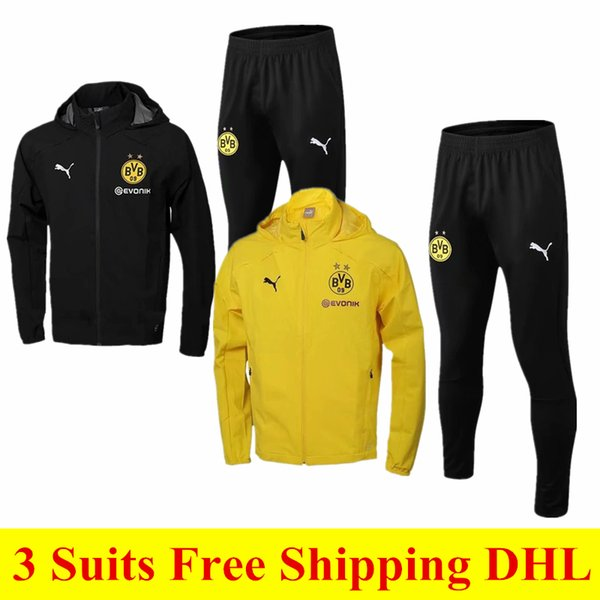 3 piece set free shipping to DHL 1819 high quality sportswear 19 new yellow hooded jacket suit casual windproof waterproof warm men's sports