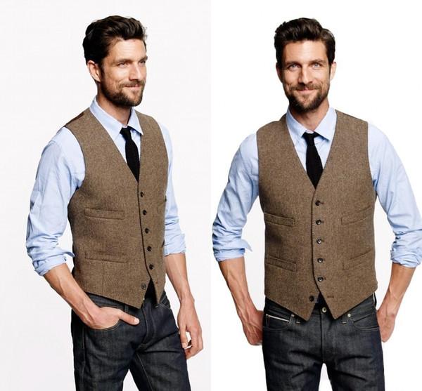 Benutzerdefinierte Hochzeitsweste Vintage Brown Tweed Weste Wolle Herringbone Bräutigam Westen britischen Stil Herren Anzug Westen Slim Fit Herren Kleid Weste