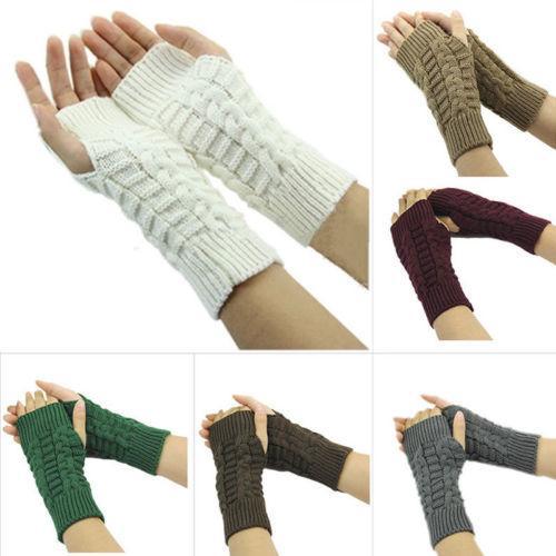 Women Gloves Stylish Hand Warmer Winter Gloves Women Arm Crochet Knitting Faux Wool Mitten Warm Fingerless Dropshipping