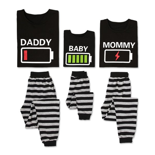 Spring New Parent-child Striped Cotton Casual Battery Power Pattern Family Pajamas Set