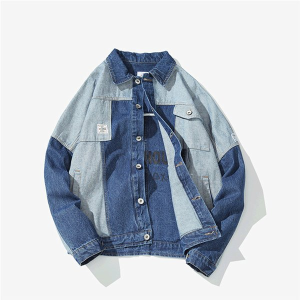 2019 spring new white background Japanese stitching hit color denim jacket male tide veste Smart Casual Punk Style