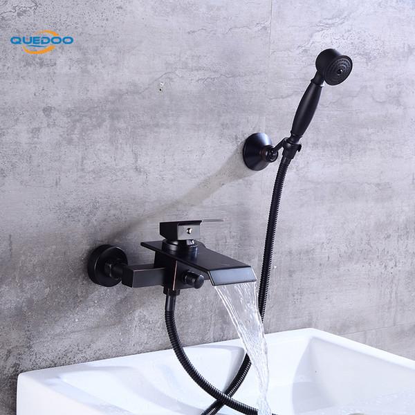 Rubinetti per doccia a parete quadrata cascata beccuccio Bagno Bagno doccia palmare Set rubinetto miscelatore vasca da bagno rubinetto ORB