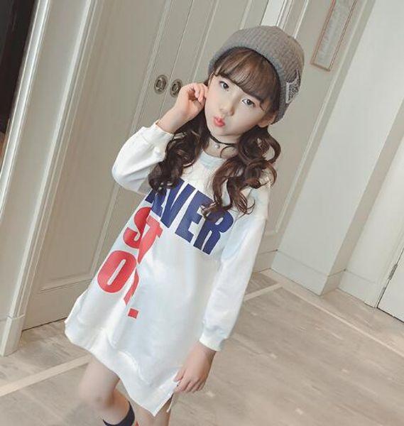 Camiseta para niñas Vestido de otoño Vestido de nueva moda para niños Blusa con parte inferior de estilo largo Top de manga larga para niños de algodón puro