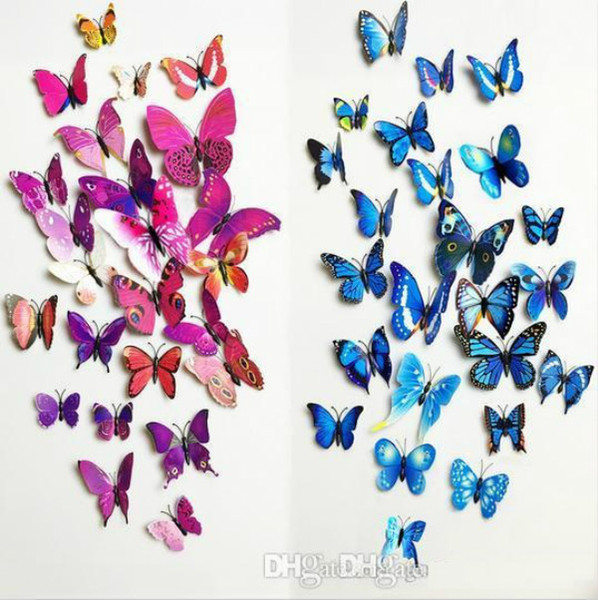 top popular 12pcs PVC 3d magnetic Butterfly wall decor cute Butterflies wall stickers art Decals home Decoration ak085 2021